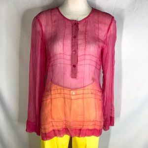 Theory size S pink sheer silk long sleeve top